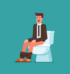 Businessman sitting on toilet bowl vector