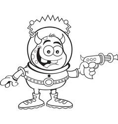 Cartoon alien with a ray gun vector image