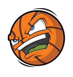 cartoon basketball angry face vector image