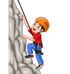 cartoon happy boy climbing rock vector image