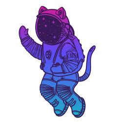 Cat astronaut soaring in vector