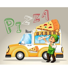 Chef and pizza truck vector
