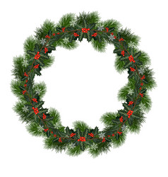 christmas wreath with holly vector image
