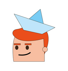 Color image side view face cartoon guy with paper vector