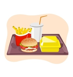 Common fast food snacks on tray vector image