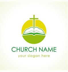 cross on bible green logo vector image
