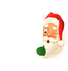 cute santa claus peeking on right side board vector image