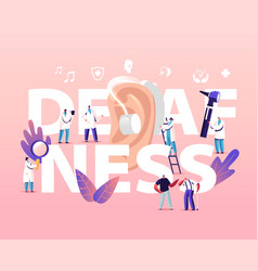 deafness concept deaf people with hear problems vector image