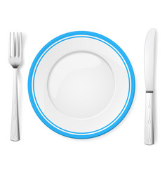 Dinner plate knife and fork on white background vector
