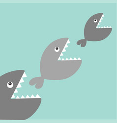 fishes eating each other food chain cute cartoon vector image