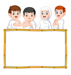 four children are using white cloth vector image