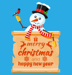 funny snowman character greeting vector image