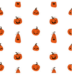 halloween seamless pattern with cute pumpkins and vector image