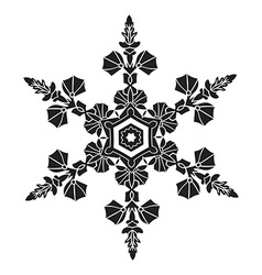 Hand-drawn realistic silhouette snowflake Black on vector image