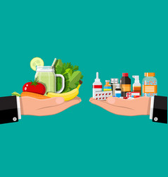 Hands scales with vegetables and drugs vector