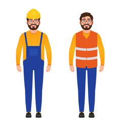 Happy builder bearded man dressed in construction vector