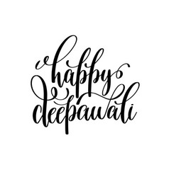 Happy deepawali black calligraphy hand lettering vector