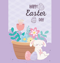 happy easter day sleeping rabbit eggs basket with vector image