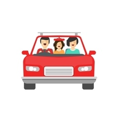 Happy family inside car driving vector