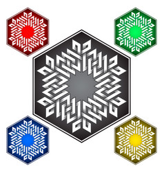 Hexagonal logo template in celtic knots style vector