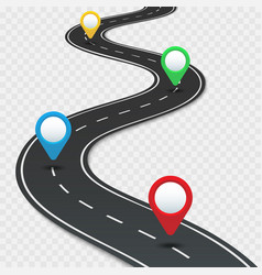 Highway roadmap with pins car road direction gps vector