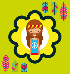 Hippie man feathers bohemian free spirit vector