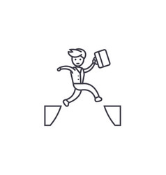 Jumping over line icon sign vector