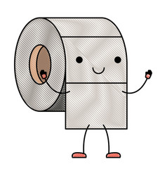 kawaii cartoon toilet paper roll in colored crayon vector image