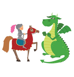 Knight on horseback and dragon vector