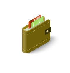 leather wallet with credit cards icon vector image
