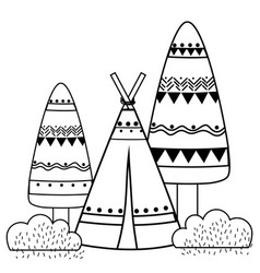 Line ethnic camp with trees and bushes plant vector