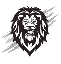 lion head roaring logo mascot vector image