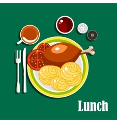 Lunch with chicken leg sauce noodles and tea vector