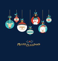 merry christmas cute cartoon animal greeting card vector image