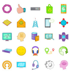 Mobile connection icons set cartoon style vector