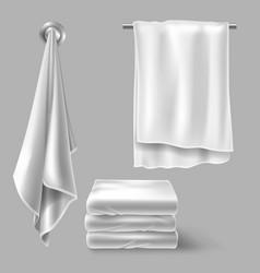 Mockup with white cloth towels vector