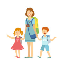 Mother with her children going for summer vector