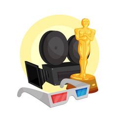 Movie camera a golden oscar statuette and 3d vector
