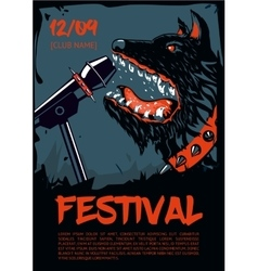 Music poster template for rock concert Dog with vector