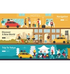 Navigation Discover A New World Trip To Tokyo flat vector