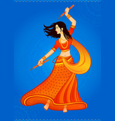 Navratri girl dancing vector