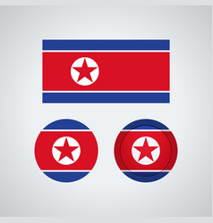 north korean trio flags vector image