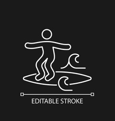 noseriding surfing technique white linear icon vector image