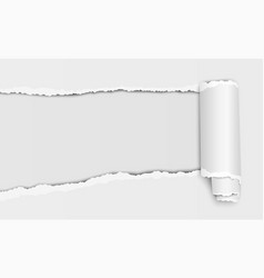 Oblong torn hole in white sheet paper vector