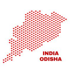 odisha state map - mosaic of valentine hearts vector image