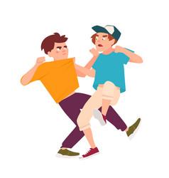 Pair fighting children conflict between kids vector