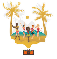 People dancing at beach party on tropical island vector