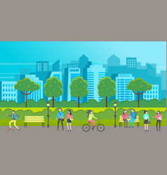 People walk in a city park characters going on vector