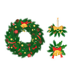 pine tree arranged in circle christmas holiday vector image