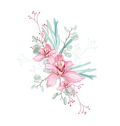 pink orchid herbs eucalyptus and greenery bouque vector image